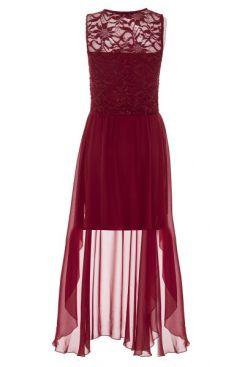 vestido-color-cereza-con-escote-corazón-y-encaje-y-bajo-asimétrico-00100012874