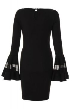 vestido-negro-ajustado-con-malla-y-volantes-en-mangas-00100013341
