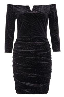 vestido-negro-de-purpurina-con-cuello-bardot-y-falda-fruncida-00100013371